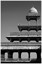 Stories reducing on the Panch Mahal. Fatehpur Sikri, Uttar Pradesh, India ( black and white)