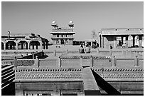 Ornamental pool and main courtyard. Fatehpur Sikri, Uttar Pradesh, India (black and white)