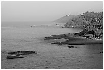 Coastline, palm trees, and clear waters, Dona Paula. Goa, India ( black and white)