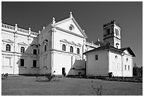 Se Cathedral fron the side, Old Goa. Goa, India ( black and white)