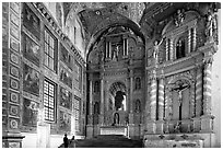 Murals and altars, Church of St Francis of Assisi, Old Goa. Goa, India (black and white)