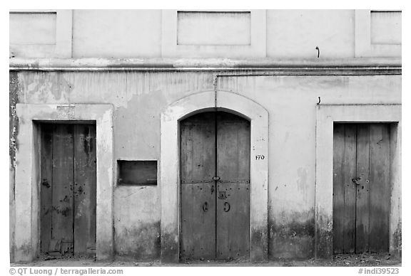 Facade painted yellow, Panjim. Goa, India (black and white)