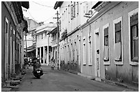 Street with painted houses, Panaji. Goa, India ( black and white)