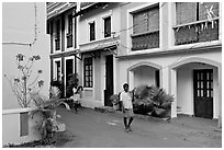Men returning from work with tools, Panjim. Goa, India ( black and white)