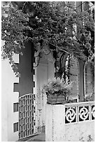 House facade with flowers, Panaji. Goa, India ( black and white)