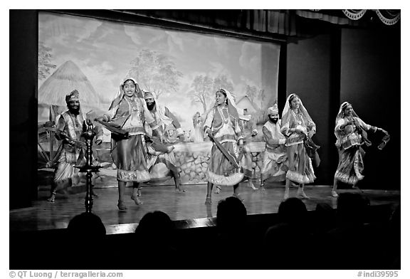 Folksdance performed on Kandariya art and culture show stage. Khajuraho, Madhya Pradesh, India
