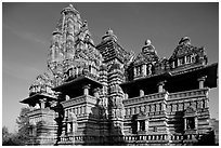 Lakshmana temple, early morning. Khajuraho, Madhya Pradesh, India (black and white)