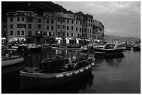 Old harbor at dusk, Portofino. Liguria, Italy ( black and white)