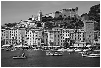 Castle, village, and harbor, Porto Venere. Liguria, Italy ( black and white)