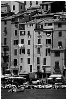 Pastel-colored houses and harbor, Porto Venere. Liguria, Italy ( black and white)