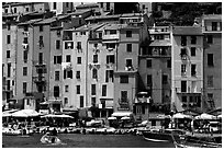 Harbor and townhouses, Porto Venere. Liguria, Italy ( black and white)