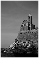 Chiesa di San Pietro (1277) in Genoese Gothic fashion with black and white bands of marble, Porto Venere. Liguria, Italy ( black and white)