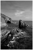 Mediterranean coastline and rocks near Manarola. Cinque Terre, Liguria, Italy (black and white)