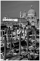 Water taxis and Santa Maria della Salute church, early morning. Venice, Veneto, Italy ( black and white)