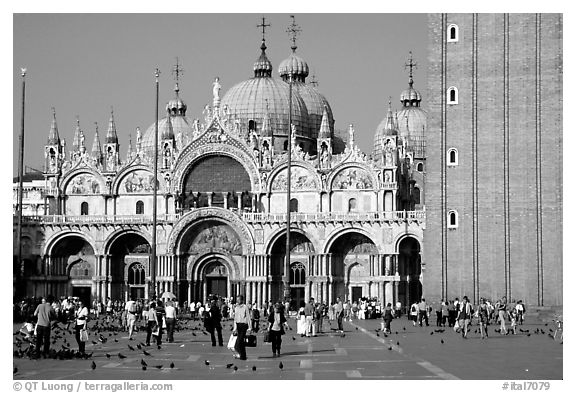 Basilica San Marco, late afternoon. Venice, Veneto, Italy (black and white)