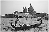 Gondola,  Santa Maria della Salute church, late afternoon. Venice, Veneto, Italy ( black and white)