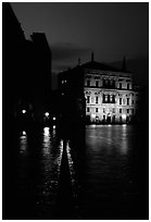 Rezzonico palace illuminated at night, along the Grand Canal. Venice, Veneto, Italy ( black and white)