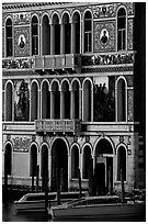 Beautiful colored marbles on facade of Palazzo Dorio (1487), the Grand Canal. Venice, Veneto, Italy ( black and white)
