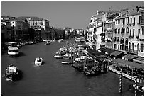 Grand Canal near Rialto Bridge. Venice, Veneto, Italy ( black and white)
