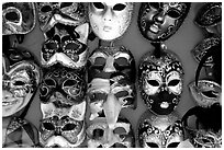 Close-up of traditional carnival masks, Burano. Venice, Veneto, Italy ( black and white)