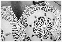 Lace, the specialty of the island of Burano. Venice, Veneto, Italy ( black and white)