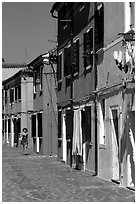 Distinctive, brightly painted houses, Burano. Venice, Veneto, Italy ( black and white)