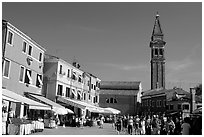 Street and church, Burano. Venice, Veneto, Italy ( black and white)