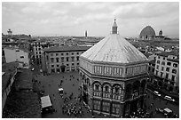 Baptistry and plazza. Florence, Tuscany, Italy ( black and white)