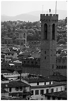 Bell tower, palazzo Vecchio. Florence, Tuscany, Italy ( black and white)