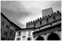 Mix of buildings of different styles. Siena, Tuscany, Italy ( black and white)