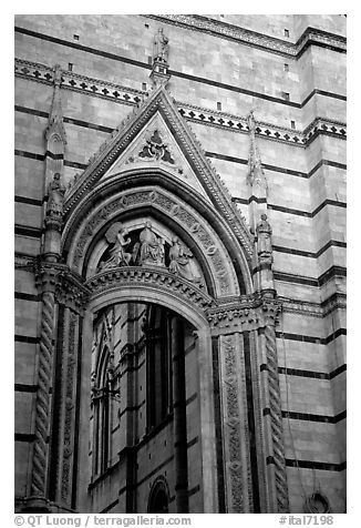 Gate in Duomo wall. Siena, Tuscany, Italy (black and white)