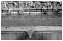 15th century Fonte Gaia (Gay Fountain). Siena, Tuscany, Italy ( black and white)