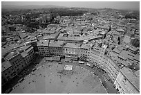 Piazza Del Campo and houses seen from Torre del Mangia. Siena, Tuscany, Italy ( black and white)