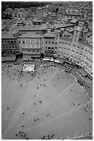 Section of medieval Piazza Del Campo seen from Torre del Mangia. Siena, Tuscany, Italy ( black and white)