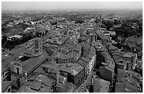 Historic town seen from Torre del Mangia. Siena, Tuscany, Italy ( black and white)
