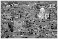 Chiesa di San Francesco seen seen from Torre del Mangia. Siena, Tuscany, Italy ( black and white)