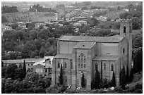 Church of San Domenico seen from Torre del Mangia. Siena, Tuscany, Italy ( black and white)