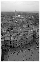 Piazza Del Campo and Duomo seen from Torre del Mangia. Siena, Tuscany, Italy ( black and white)