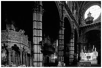 Interior of the Siena Duomo. Siena, Tuscany, Italy ( black and white)