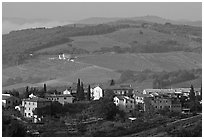 Countryside around the town. San Gimignano, Tuscany, Italy (black and white)