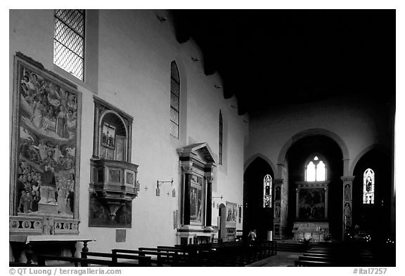 Interior of Chiesa di Sant'Agostino. San Gimignano, Tuscany, Italy (black and white)