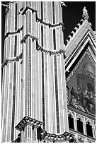 Facade detail of the Cathedral (Duomo). Orvieto, Umbria (black and white)