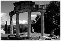 Columns of the small temple of Venus, Villa Hadriana. Tivoli, Lazio, Italy (black and white)