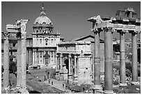 West end of the Roman Forum. Rome, Lazio, Italy (black and white)