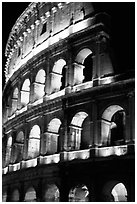 Colosseum illuminated night. Rome, Lazio, Italy ( black and white)
