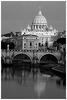 Bridge and Basilic Saint Peter reflected in Tiber River, sunrise. Vatican City ( black and white)