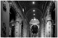 Interior of Basilica San Pietro. Vatican City ( black and white)