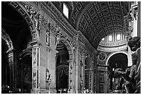 Cavernous interior of Basilic San Peter. Vatican City ( black and white)