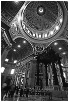 Baldachino, Bernini's baroque canopy stands above St Peter's tomb. Vatican City ( black and white)
