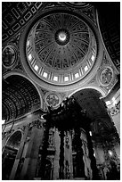 Baldachino, and Dome of Basilic Saint Peter. Vatican City (black and white)